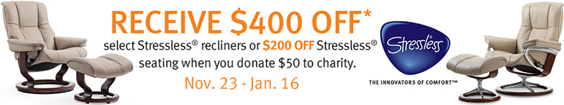 Stressless $400 Off Charity Promotion