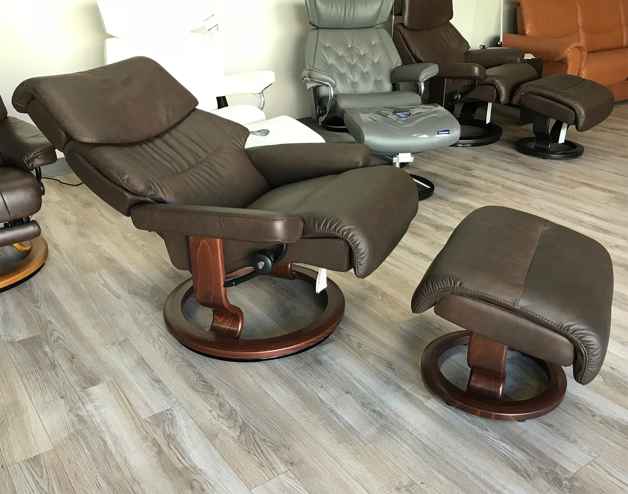 Stressless Capri Recliner Chair and Ottoman in Paloma