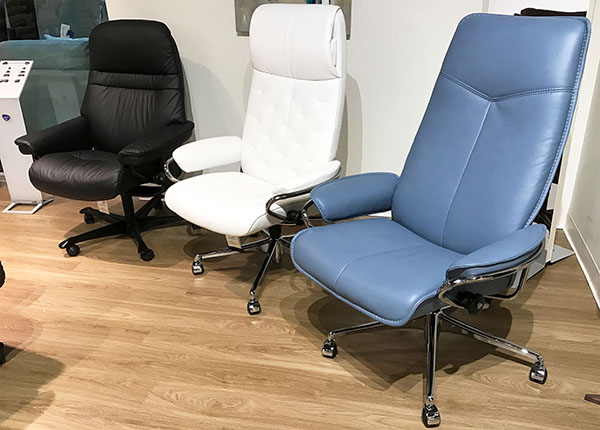 stressless city high back office desk chair in paloma sparrow blue leather