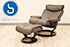 Stressless Magic Medium Paloma Rock Leather Recliner Chair and Ottoman