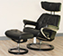Stressless Skyline Medium Recliner and Ottoman in Paloma Black Leather