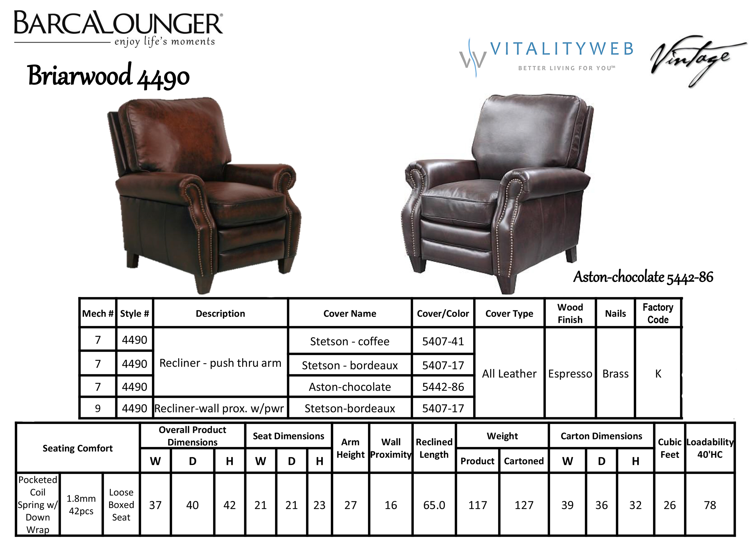 Barcalounger Briarwood Ii Recliner Chair Leather