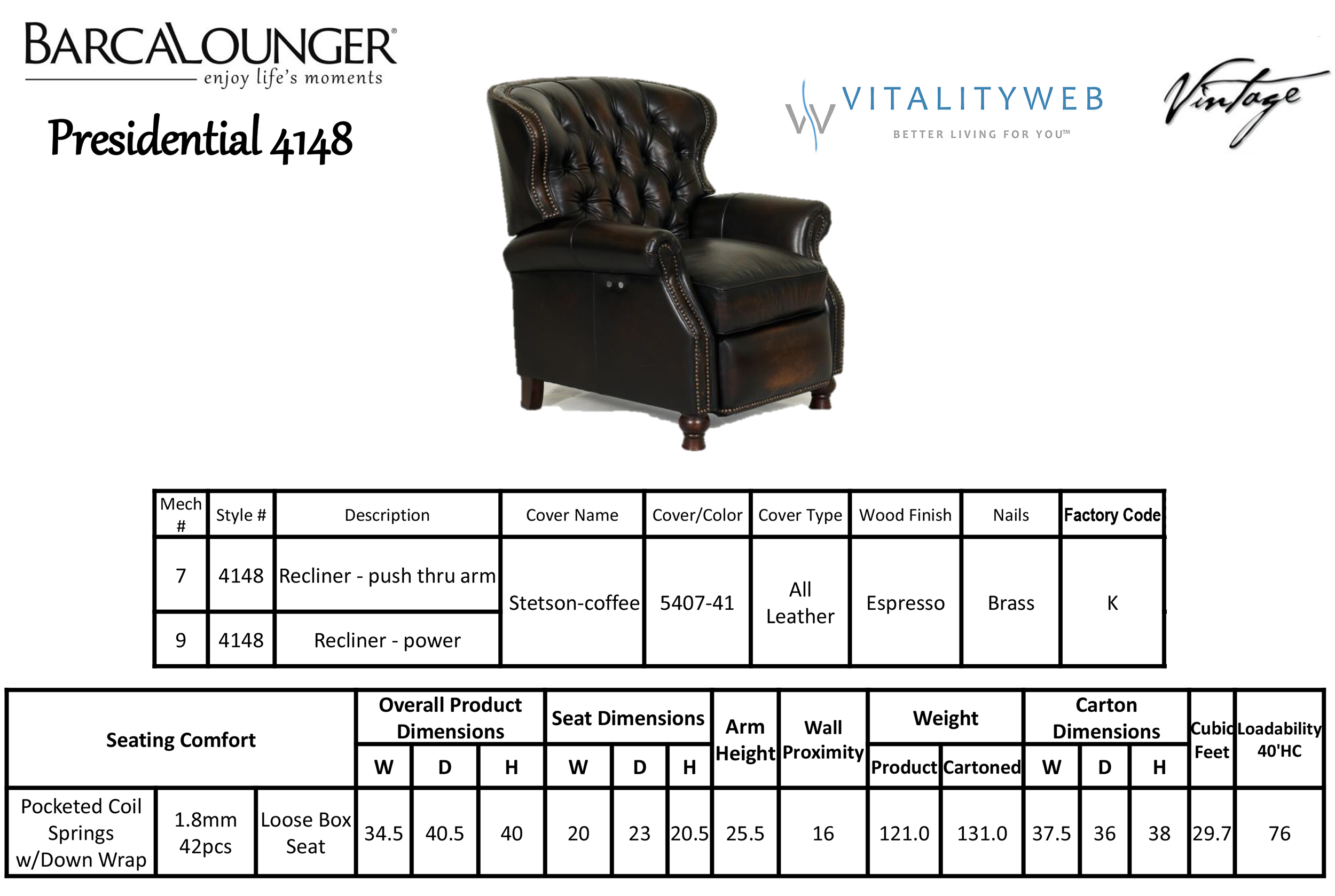 Barcalounger Presidential II 4148 Leather Recliner Chair Dimensions