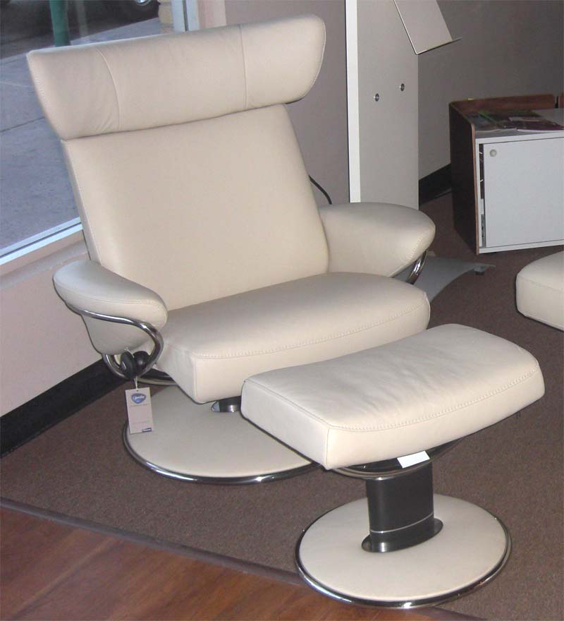 Stressless Paloma Kitt Leather Color Recliner Chair and Ottoman from Ekornes