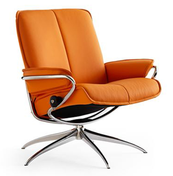ekornes stressless city low back leather recliner chair - city