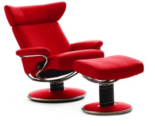 Stressless Paloma Chilli Red Leather Color Recliner Chair and Ottoman from Ekornes