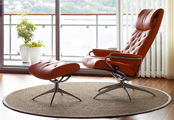 Stressless Metro High Back Red Paloma Leather Recliner Chair and Ottoman by Ekornes & Ekornes Stressless Metro High Back Leather Recliner and Ottoman ...