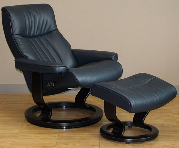Stressless Crown Cori Black Leather Recliner Chair