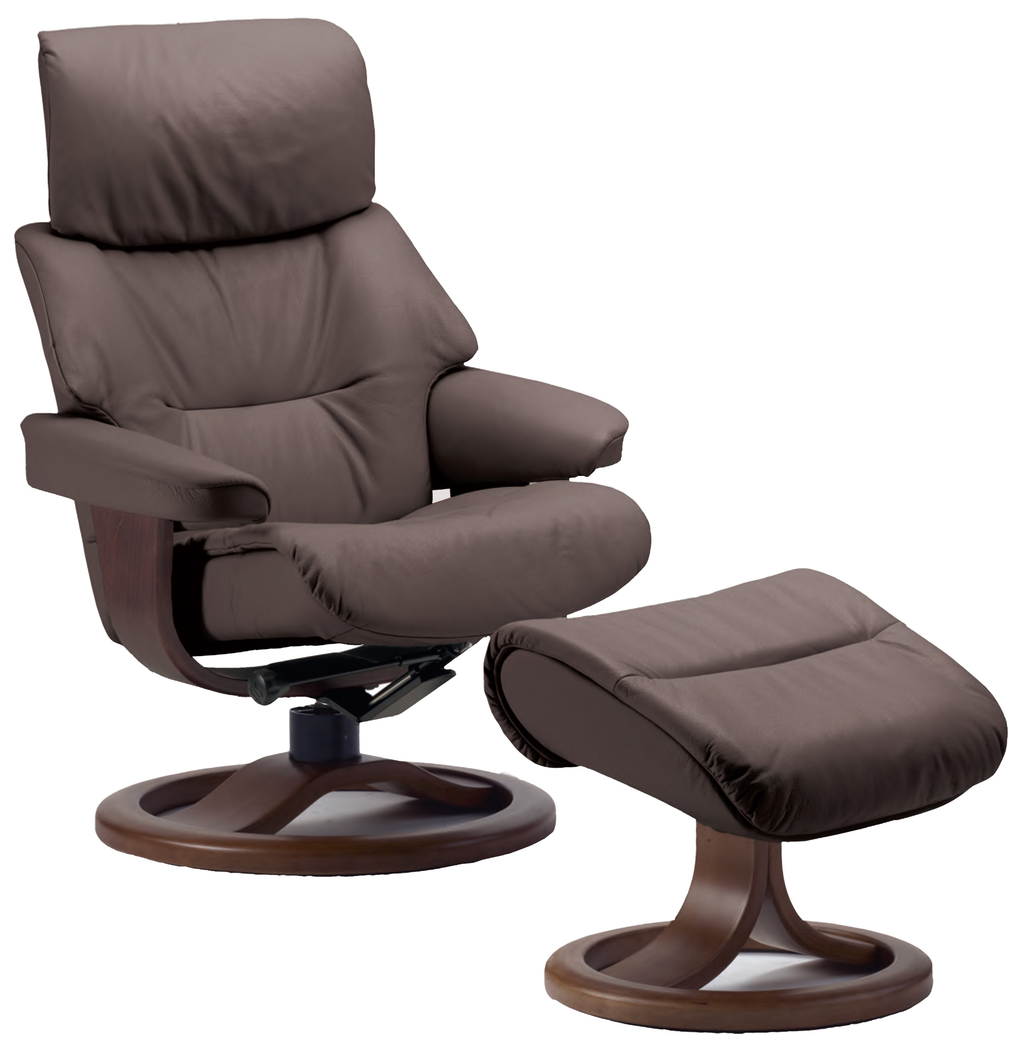 Fjords Grip Ergonomic Leather Recliner Chair Ottoman Scandinavian Norwegian