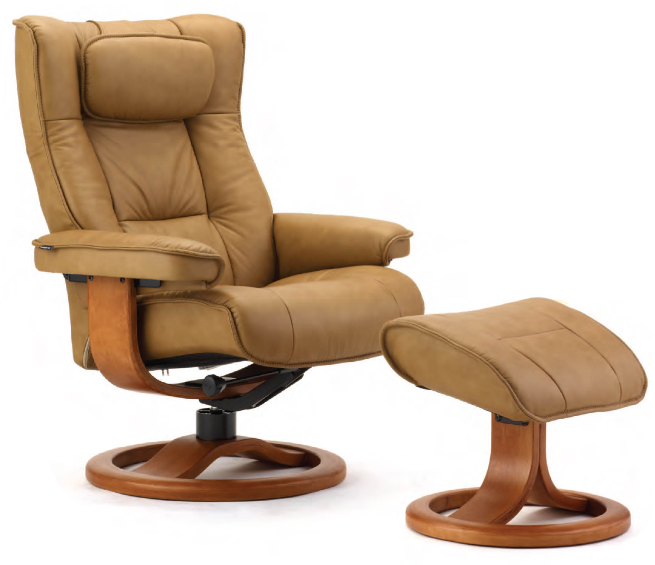 fjords regent ergonomic leather recliner chair  ottoman  - fjords regent hassel leather recliner chair and ottoman
