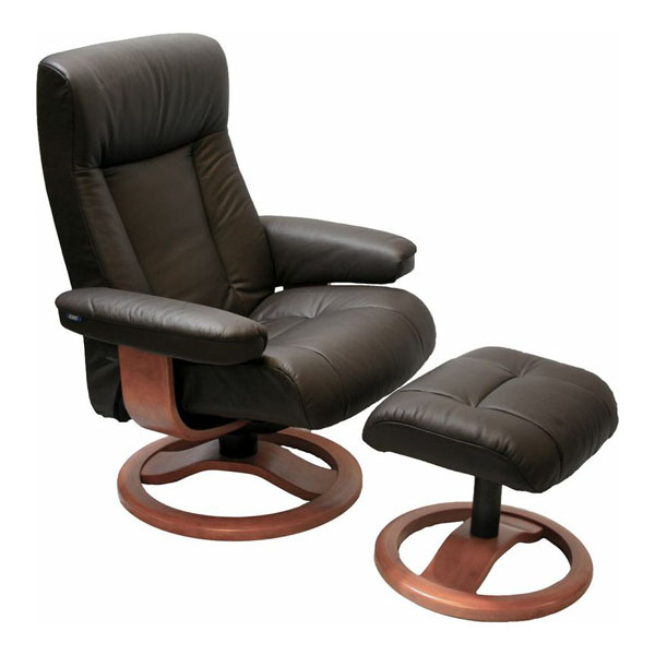 Scandinavian ScanSit 110 Havana Leather Modern Ergonomic Recliner Ottoman