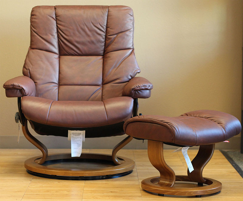 Stressless Kensington Paloma Cognac Leather Recliner Lounger and Ottoman