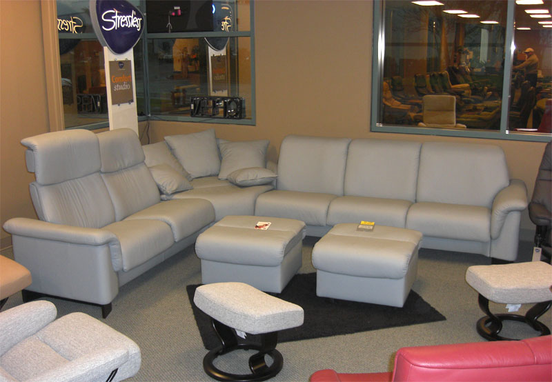 Stressless Paloma Pearl Grey Leather Paradise Sectional from Ekornes