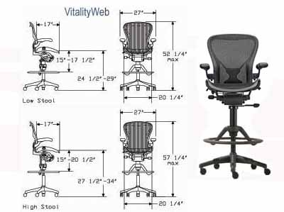 Herman Miller Aeron Stool Home Office Chair Ergonomic Seating By
