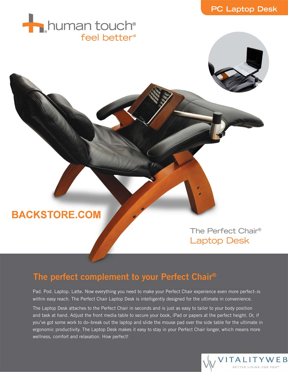 Perfect Chair Laptop Desk: - USA Ups Ground Shipping Included!