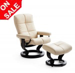 Stressless Oxford Medium Recliner Chairs and Ottoman