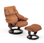 Stressless Reno Recliner Chairs and Ottoman