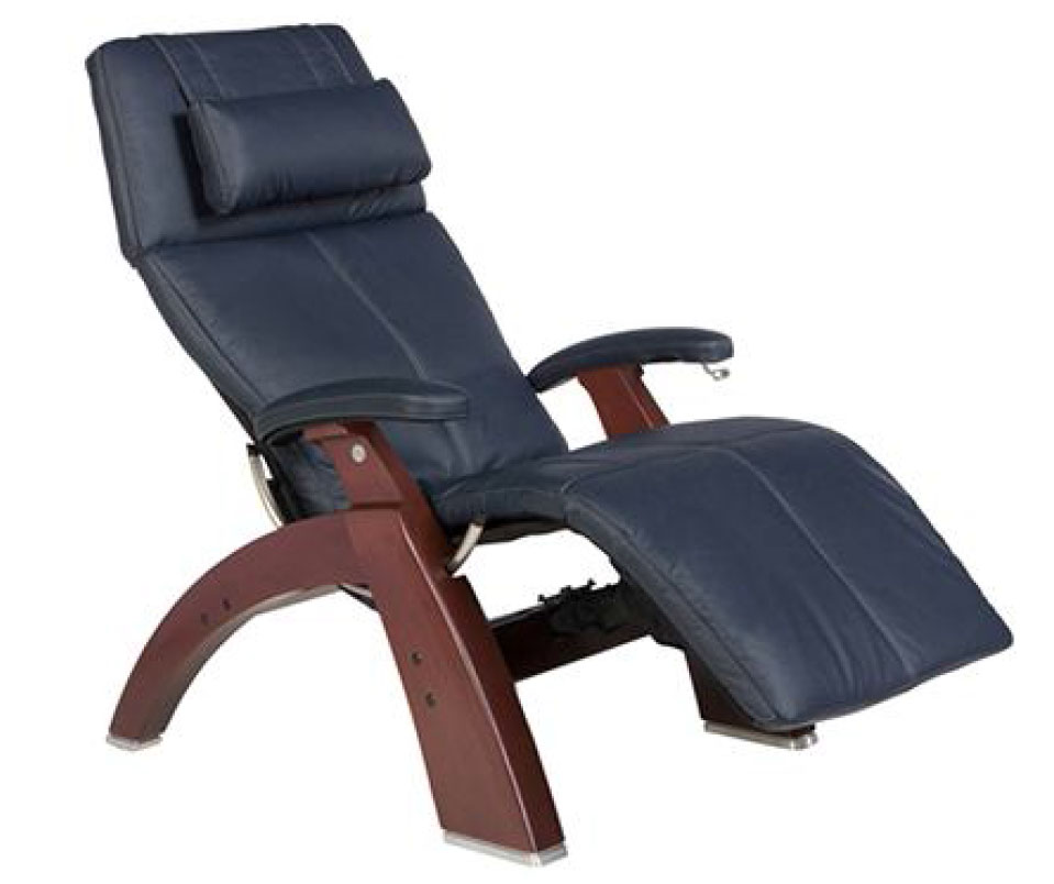 Navy Blue Top Grain Leather Chestnut Wood Base Series 2 Classic Perfect Chair Zero Gravity Power Recliner by Human Touch