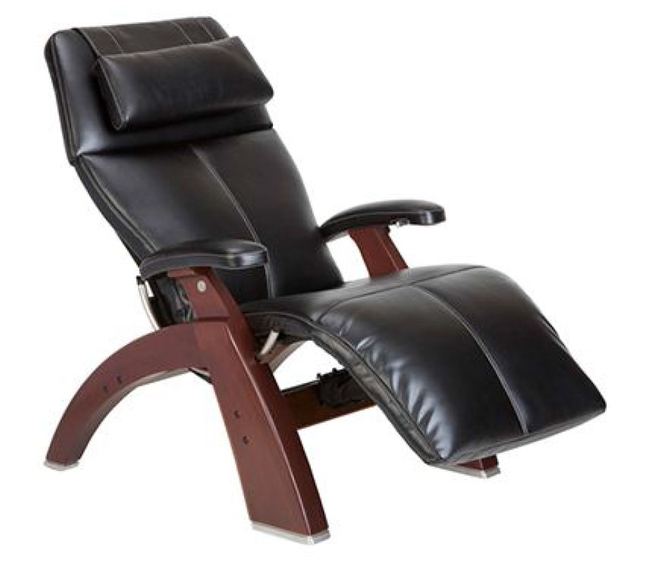 Black Premium Leather Chestnut Wood Base Series 2 Classic Perfect Chair Zero Gravity Power Recliner by Human Touch