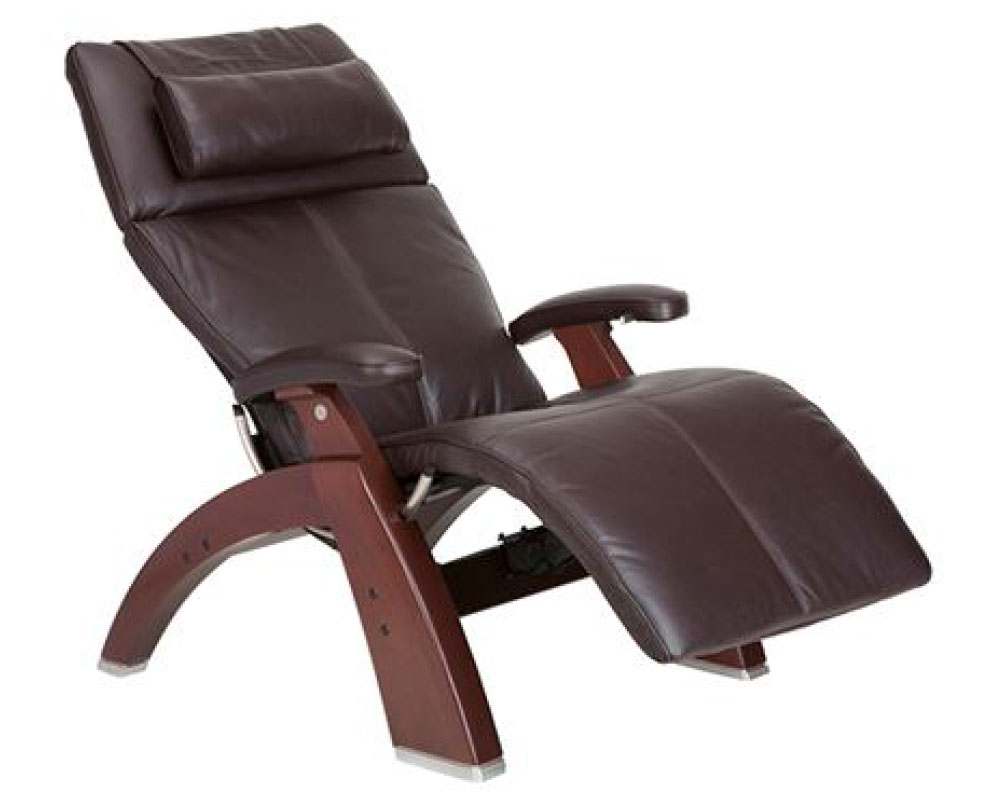 Espresso Premium Leather Chestnut Wood Base Series 2 Classic Perfect Chair Zero Gravity Power Recliner by Human Touch