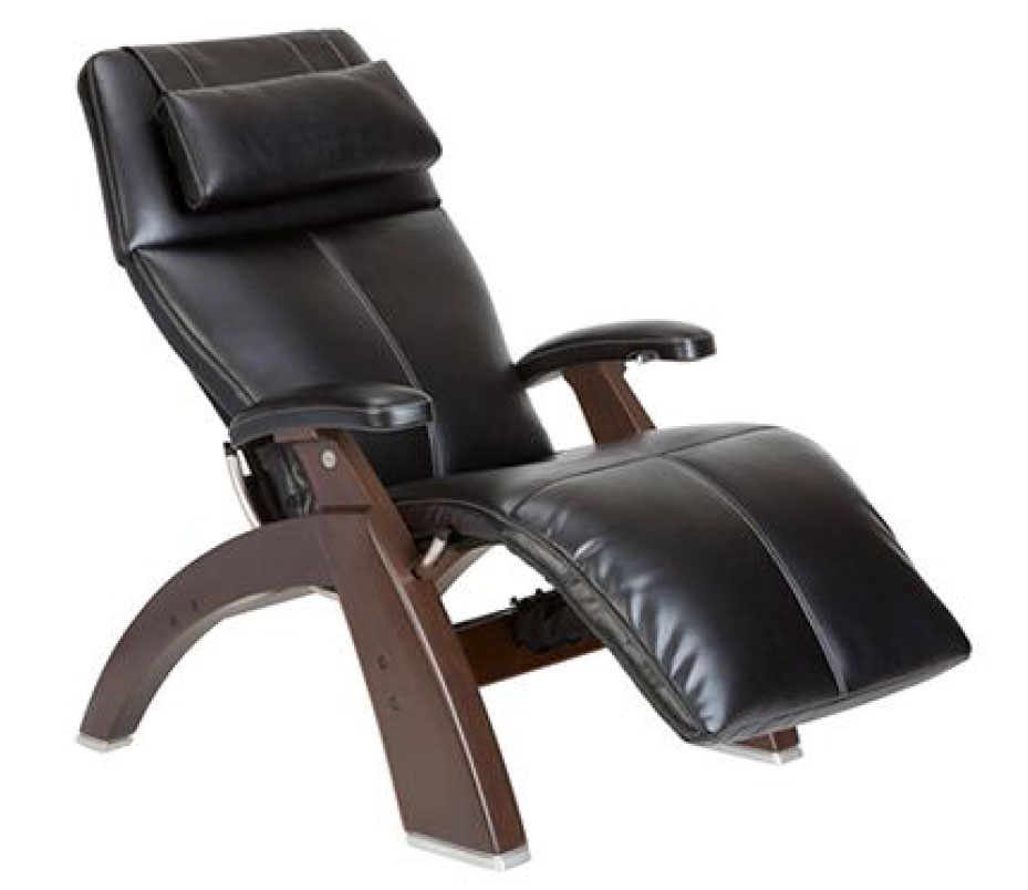 Black Premium Leather Dark Walnut Wood Base Series 2 Classic Perfect Chair Zero Gravity Power Recliner by Human Touch