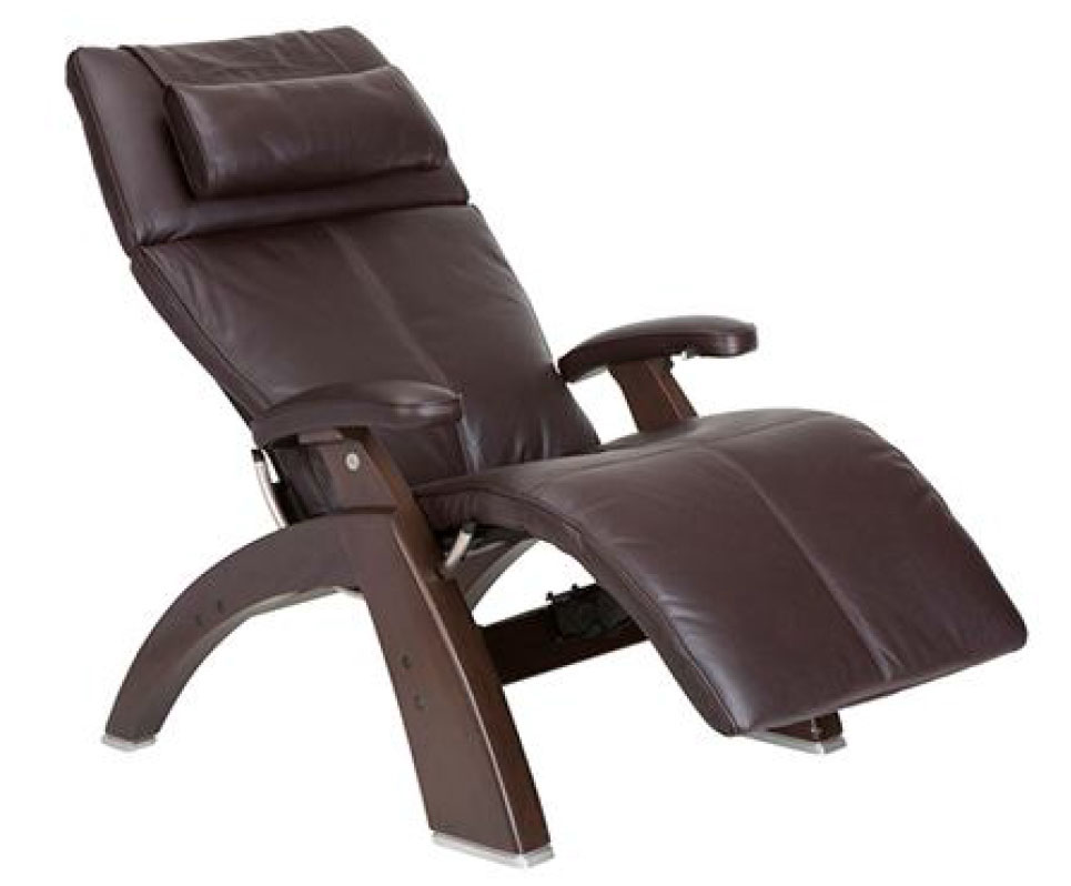 Espresso Premium Leather Dark Walnut Wood Base Series 2 Classic Perfect Chair Zero Gravity Power Recliner by Human Touch