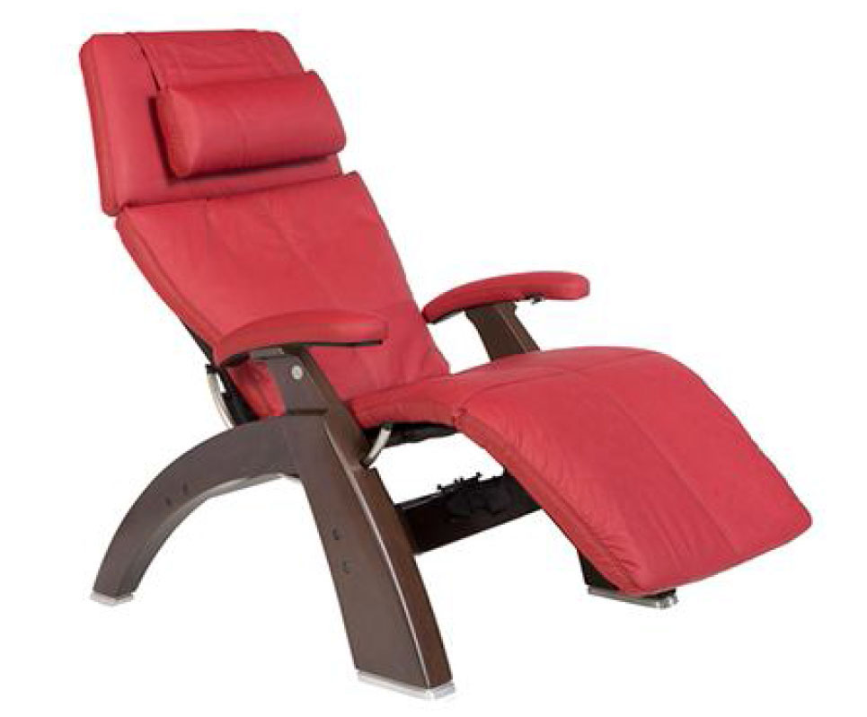 Red Top Grain Leather Dark Walnut Wood Base Series 2 Classic Perfect Chair Zero Gravity Power Recliner by Human Touch