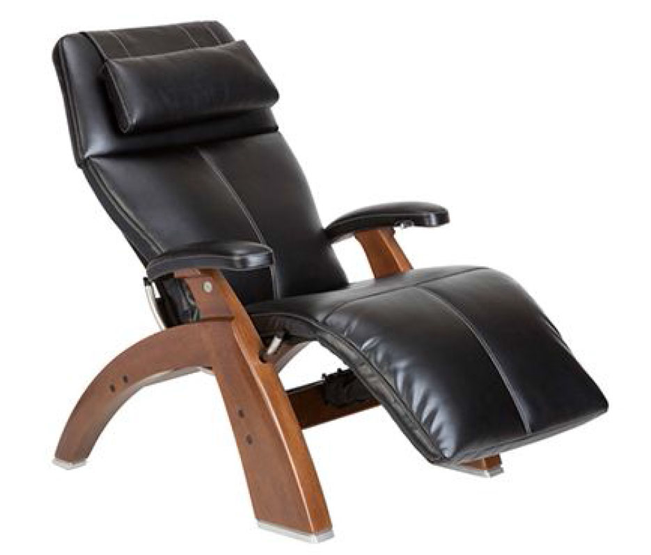 Black Top Grain Leather with a Walnut Wood Base Series 2 Classic Perfect Chair Zero Gravity Power Recliner by Human Touch