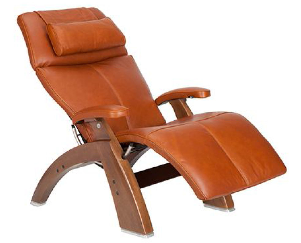 Cognac Premium Leather Walnut Wood Base Series 2 Classic Perfect Chair Zero Gravity Power Recliner by Human Touch