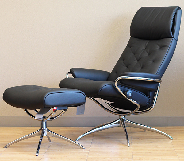 Stressless Metro High Back Black Paloma Leather Recliner Chair and Ottoman by Ekornes