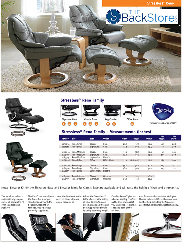 Stressless Reno Leather Recliner Chair and Ottoman from Ekornes