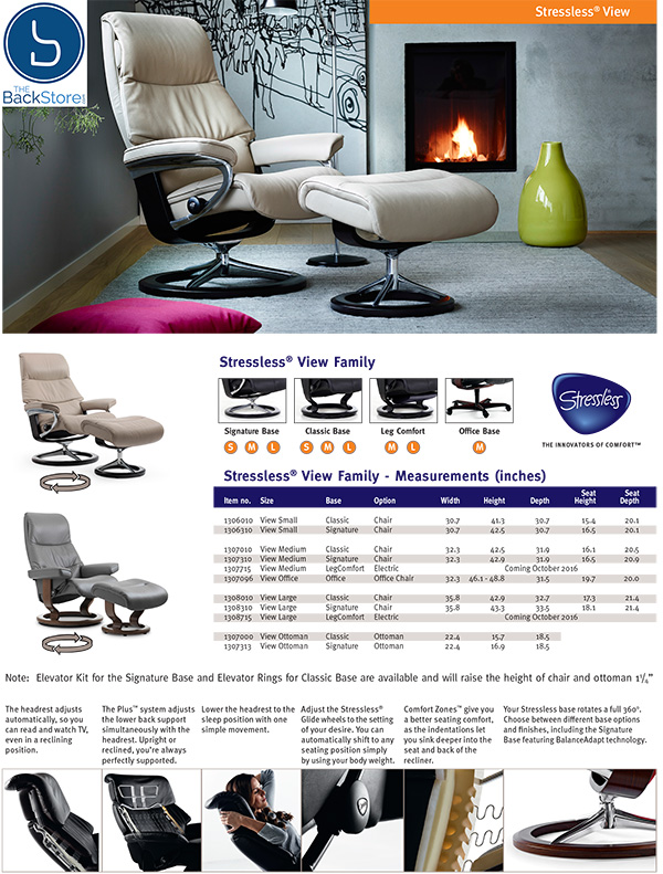 Stressless View Leather Recliner Chair and Ottoman