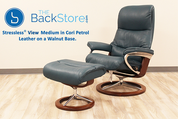 Stressless View Signature Recliner Chair and Ottoman in Cori Petrol Leather