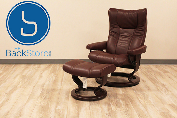 Stressless Wing Recliner Chair and Ottoman in Cori Amarone