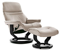 Stressless Sunrise Classic Base Recliner Chair and Ottoman