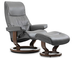 Stressless View Classic Base Recliner Chair and Ottoman