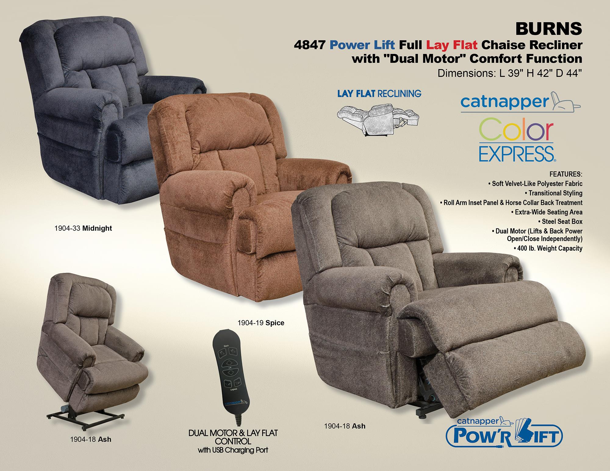 Catnapper Burns 4847 Dual Motor Power Lift Chair Recliner