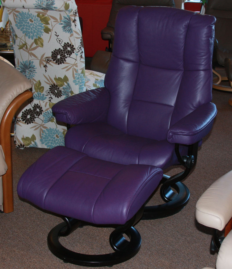 Stressless Paloma Lilac Leather Color Recliner Chair and Ottoman from Ekornes