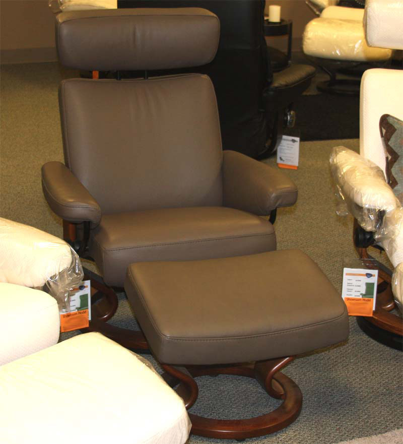 Stressless Paloma Khaki Leather Color Recliner Chair and Ottoman from Ekornes