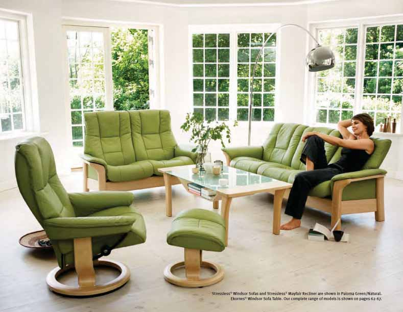 Stressless Paloma Green Leather Color Recliner Chair and Ottoman from Ekornes