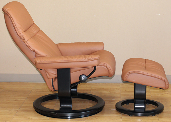 Stressless Sunrise Classic Palm Brown Color Leather Recliner Chair and Ottoman