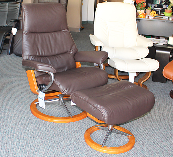 Stressless View Paloma Mocca Leather Recliner Chair