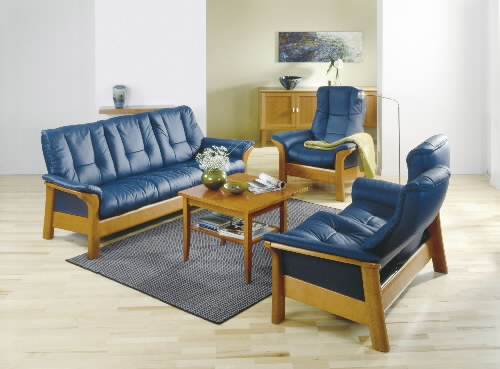 Stressless Paloma Oxford Blue Leather Color Sofa Set from Ekornes