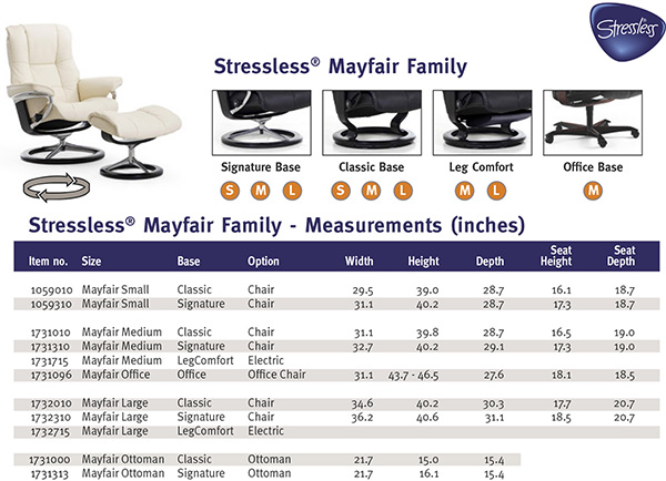 Stressless Mayfair Recliner Chair Size Dimensions