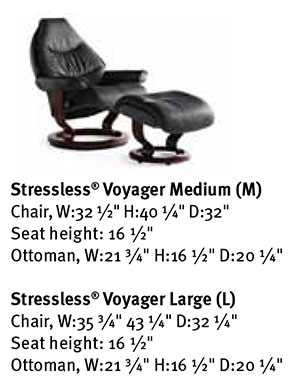 Stressless Voyager Family Recliner Chair Dimensions from Ekornes