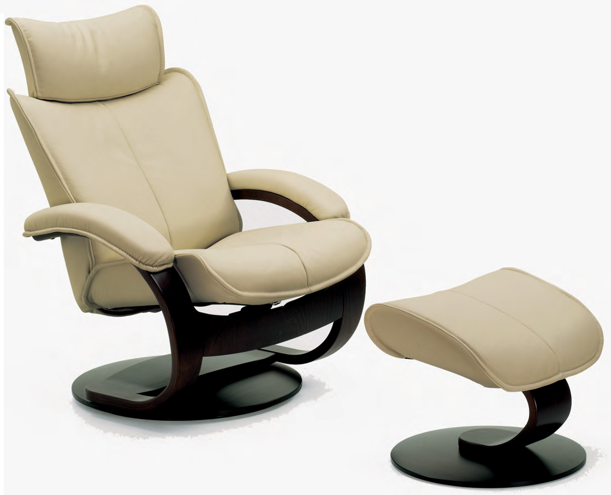 Fjords Ona Ergonomic Leather Recliner Chair Ottoman