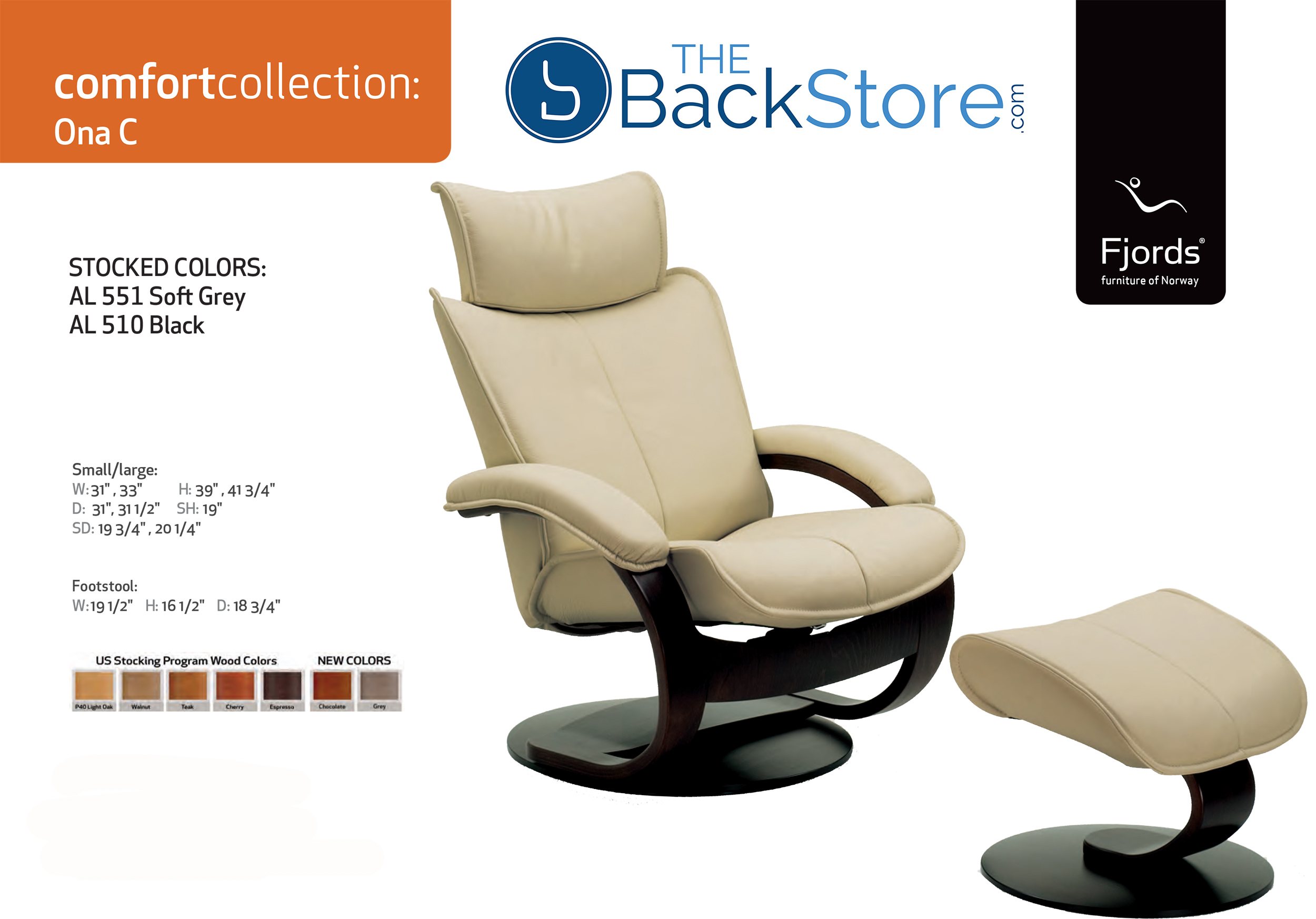 Fjords Ona Leather Recliner Chair And Ottoman