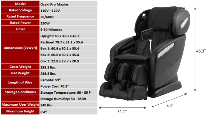 Osaki OS Pro Maxim S L Track Zero Gravity Massage Chair Recliner Dimensions