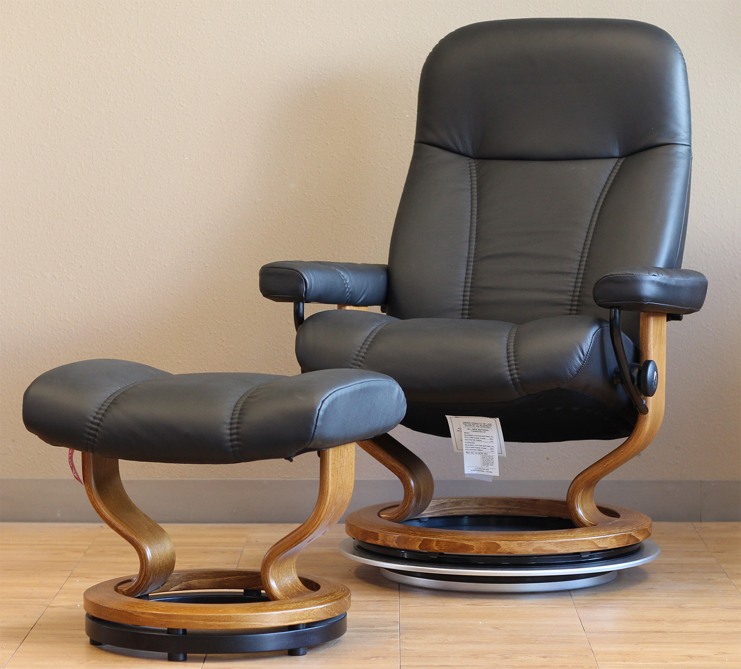 Stressless Batick Black Leather Recliner Chair