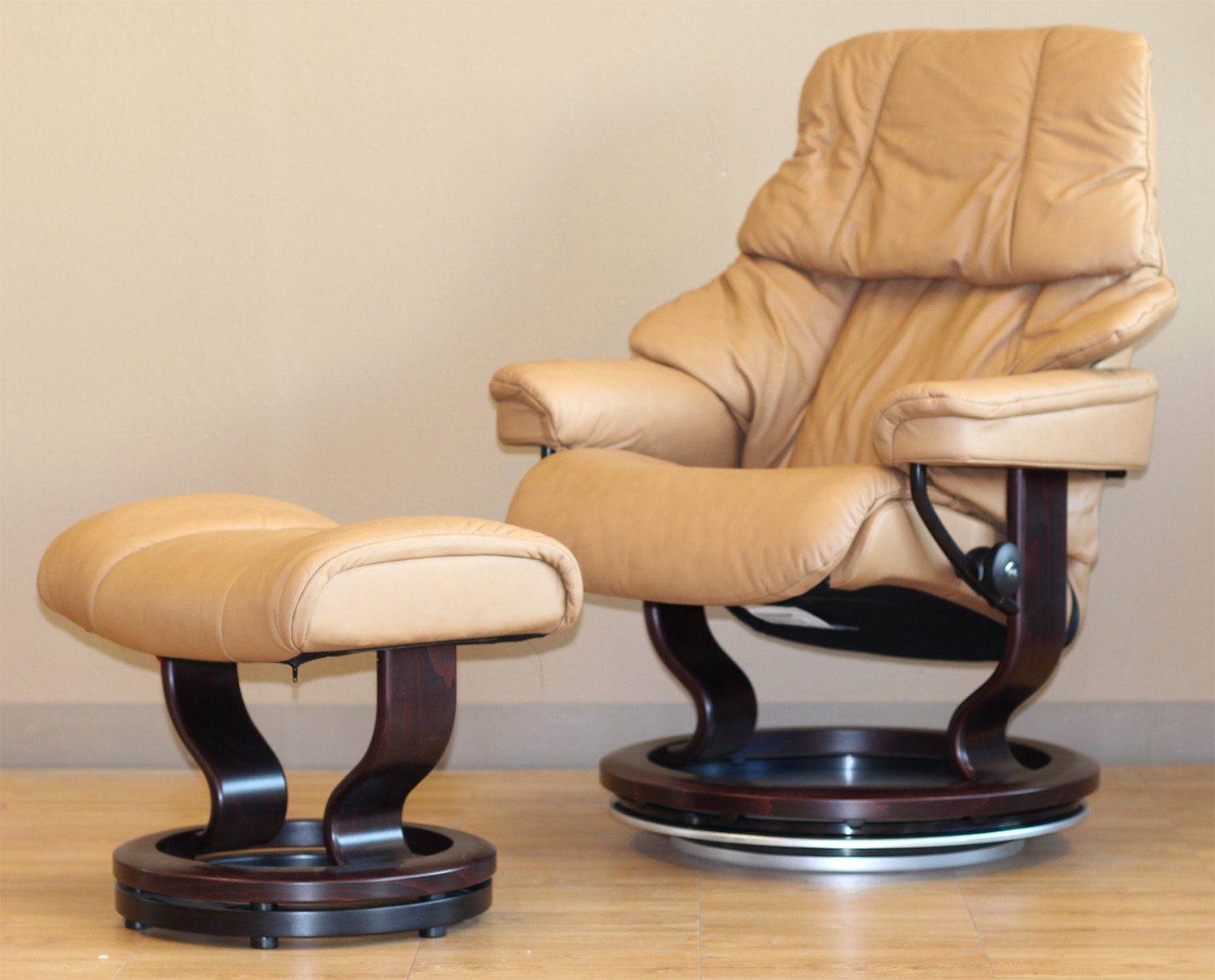 Stressless Paloma Taupe Leather Recliner Chair and Ottoman
